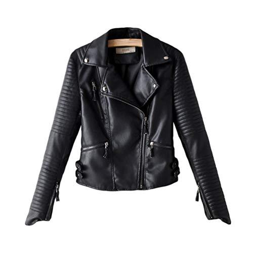 Kaiyei Mujer Cuero Casacas Moda Slim Fit Primavera Otoño Biker Cazadora Mujer Polipiel Chamarra Casual Cremallera Corto Abrigo Biker Chaquetas Cortas De Piel Dama Cuero Sintetico Blazer Negro XL