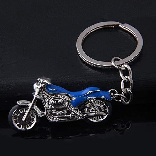 Motorrad Chopper Schlüsselanhänger silberfarben/schwarz Metall Moped | Chopper | Geschenk | Harley | blau