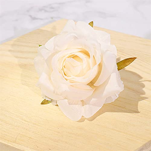 kyman Flor eterna 5 PCS Rosas Blancas Seda Flores Artificiales Cabezas para Bodas Party Party Decoración DIY Guirnalda Box Scrapbooking Craft Flowers Flowers Artificial Flowers (Color: Blanco)