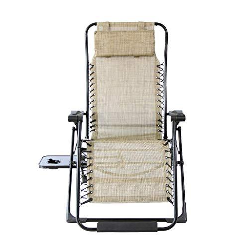 WTT zeer sterke zilveren aluminium klapstoel, geel, ademende synthetische vezel-slaapstoel, antislip, stabiele en duurzame klapstoel voor één persoon