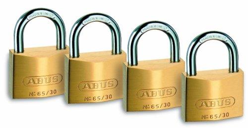 ABUS Vorhängeschloss Messing 65/30 - 4er Set, gleichschließend - Schlosskörper aus massivem Messing - gehärteter Stahlbügel - ABUS-Sicherheitslevel 4