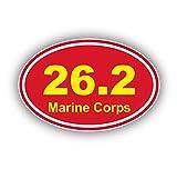 StickerJOE USMC Marathon 26.2 Oval Bumper Sticker Marine Corp 5' x 3'