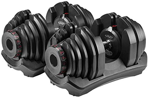 VEICAR 90lbs Adjustable Dumbbells,10lb-90lb Fast Adjust Weight Dumbbells,Training Weights Gym Equipment for Man and Women Exercise Dumbbells(A Pair)
