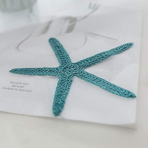 Embroidered Teal Starfish Sheer Curtains for Living Room Rod Pocket Retro Voile Window Curtains Drapes for Bedroom 52 x 84 Inch 1 Panel