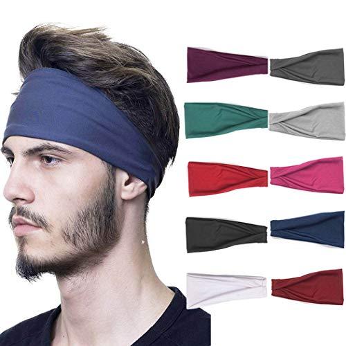 Sethain Sport Stirnband Rein 10er Pack Headwrap ausführen Baumwolle Dehnbares Haarband Breites Haar-Accessoire für Männer und Jungen