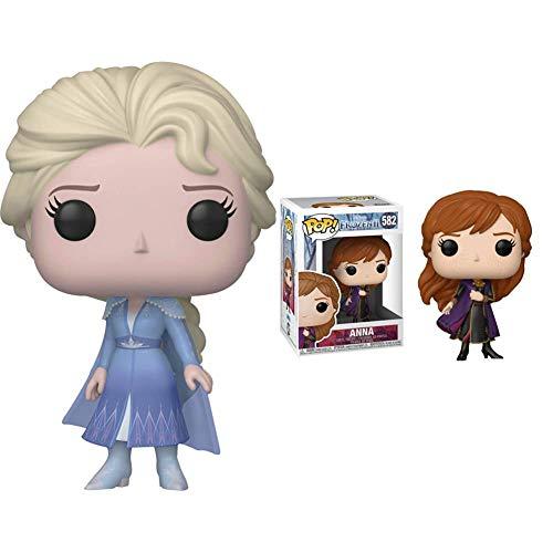 Funko Pop Disney: Frozen 2-Elsa Figura Coleccionable, Multicolor (40884) + Pop Disney: Frozen 2 Anna, Multicolor, Estándar