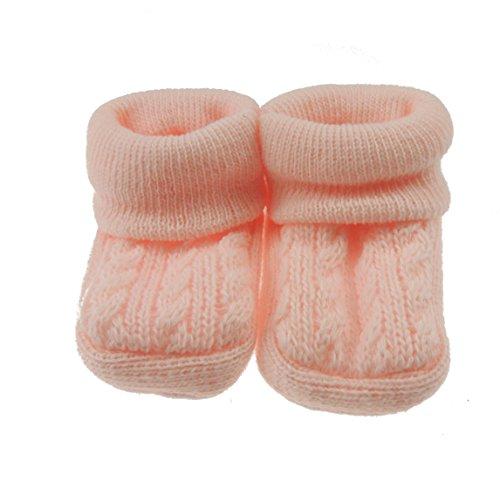 Glamour Girlz Neugeborenes Baby Mädchen Jungen Zopfmuster Booties Rosa