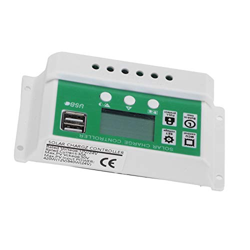 FECAMOS Controlador Solar LCD, múltiples Funciones de protección 12V 24V Controlador de Carga Solar automático Regulador de batería Solar para el hogar Industrial, Comercial