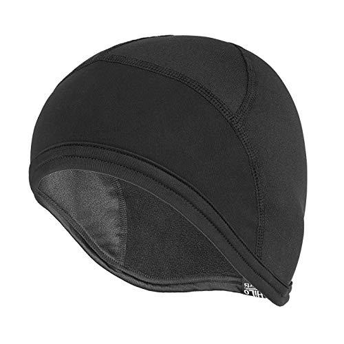 HiLo sports Radmütze Herren und Damen - Helmmütze Fahrrad für Winter - Warme Fahrrad Unterziehhaube - Mütze Fahrradhelm - Helm Beanie schwarz