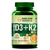 Himalayan Organics Vitamin D3 with K2 as MK7 supplement - 120 Veg Tablets