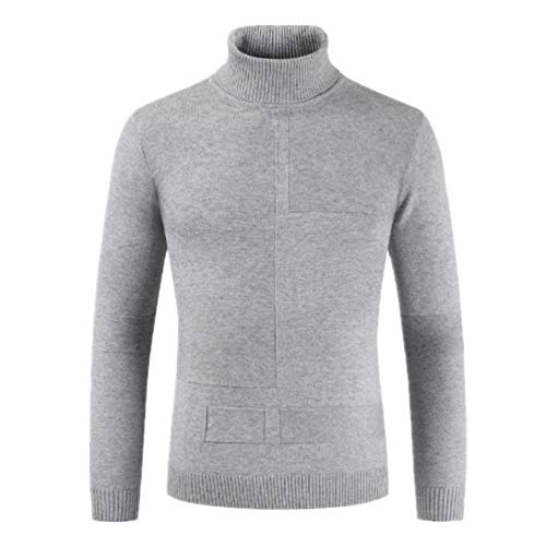 ZHUQI Pullover Herren Strickpullover Herren Lässig Bequeme Pullover Hohem Kragen Reine Farbe Schlank All-Match Herren Tops Herbst Und Winter Warm Business Casual Herren Pullover D-Gray L