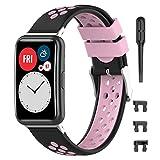 Keweni Correa de Repuesto Compatible con Huawei Fit Watch Band, Correa Deportiva de Silicona Suave Compatible con Huawei Fit Watch (negro rosado)