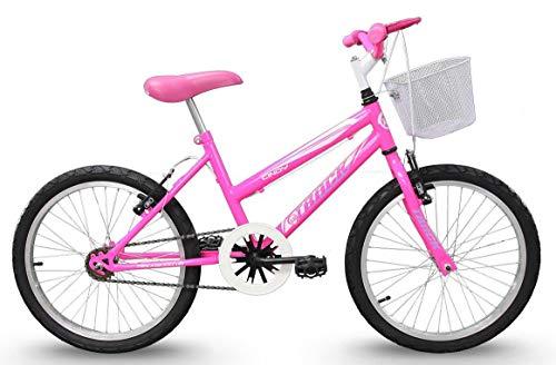 Bicicleta Aro 20 Cindy Rosa Flúor com Cesta sem Marcha, Track Bikes