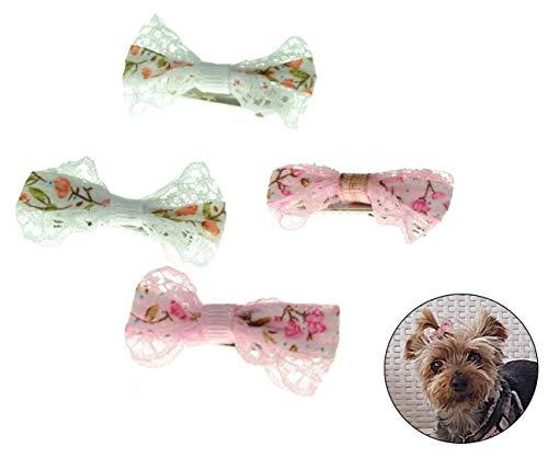 VENTURA TRADING Bianca Rosa 4 Fiocchi di Pelo di Cane Clips Fiocchi per Capelli Peli di Animali Domestici Accessori per Cani Yorkshire Terrier Fermagli per Cani