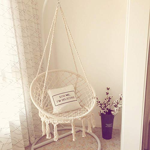 Nordic Style Hanging Rope Chair Macrame Swing Hammock Hanging Rope Chair for Living Room Reading Balcony Outdoor Rest