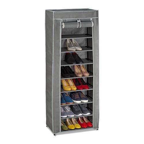 Relaxdays Schuhschrank Tela, 9 Compartimentos, 27 Pares de Zapatos, Funda extraíble, Zapatero, 150 x 60 x 30 cm, Antracita