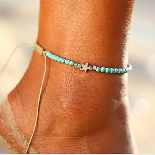 Zoestar Boho Turquoise Star Anklet Ankle Bracelet Beaded Foot Accessories Jewelry for Women