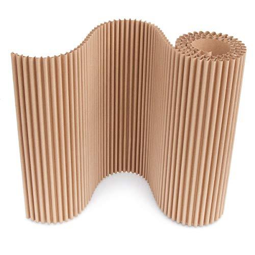 Rollo cArtù: 3 metros de un tipo completamente nuevo de cartón corrugado con características excepcionales. Es flexible, fuerte y ligero, con un amplio grosor de 15 mm. Utilícelo para cubrir muros, decorar, diseñar, manualidades, embalaje y proyectos de bricolaje. 3 metros de longitud x 60 cm de altura. 100% reciclable.