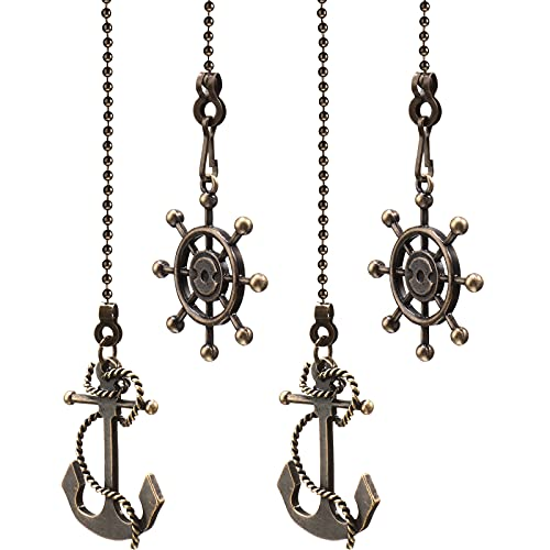 4 Pieces Vintage Anchor and Wheel Ceiling Fan Pull Chain with 14 Inches Fan Pulls Chain Extender for Bathroom Toilet Light Ceiling Light Fan (Bronze Color)