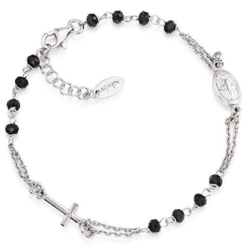 Amen Bracciale In Argento 925 Collezione Rosari - Colore Rodio - Misura Unica Bracciale Rosario Cristalli Neri