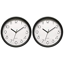 Bekith 2 Pack Wall Clock Silent Non Ticking - 10 Inch Round Quartz Battery Operated Home Office School Clocks, Black