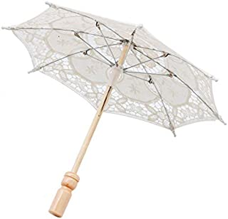 12'' Mini Vintage Wood Embroidery Pure Cotton Lace Umbrella Wedding Umbrella So Small for Wedding Gift Photo Props Kids Gift(Beige)