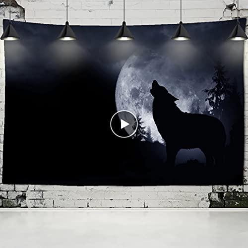 Danjiao Tapiz Negro Lobo Luna Fondo Colgante De Pared Lobo Solitario Tapiz Aullado Decoración del...