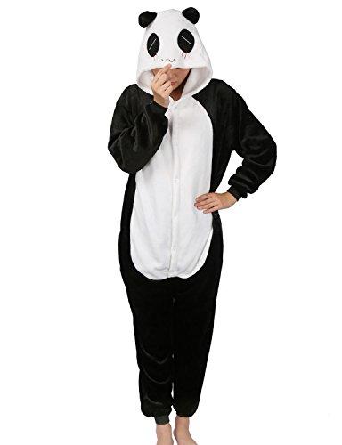 LATH.PIN Jumpsuit Tier Karton Fasching Halloween Kostüm Sleepsuit Cosplay Fleece-Overall Pyjama Schlafanzug Tierkostüme (M(Höhe:155-164CM), Panda)