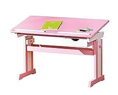 Inter Link student bureau bureau kinderbureau massief hout MDF roze en wit gelakt*