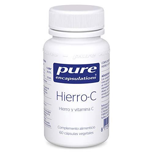 Pure Encapsulations - Hierro-C 20g - Suplemento de Hierro y Vitamina C Biodisponibles para una Mejor Absorción - Ayuda a Disminuir el Cansancio - 60 Cápsulas Veganas