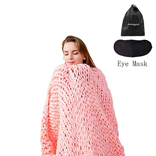Aixingyun Giant Knit Blanket Hand-Made Merino Wool Blend Chunky Bed Sofa Throw Super Large (Light Pink, 48'x60'/120x150 cm)