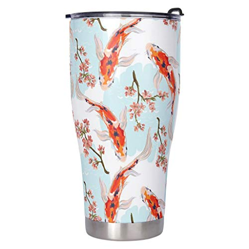 Dessionop Tumbler Wasserflasche Aquarell Japanisch Koi Fisch Druck Auto Tasse 30oz Auslaufsicherer Klappdeckel White 900ml