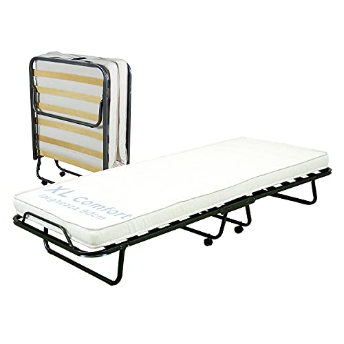 Cortassa - Cama plegable XL Comfort - Colchón de poliuretano de 10 cm de alto - Somier individual de listones de madera de 90 x 200 cm - Cama ahorra espacio con ruedas