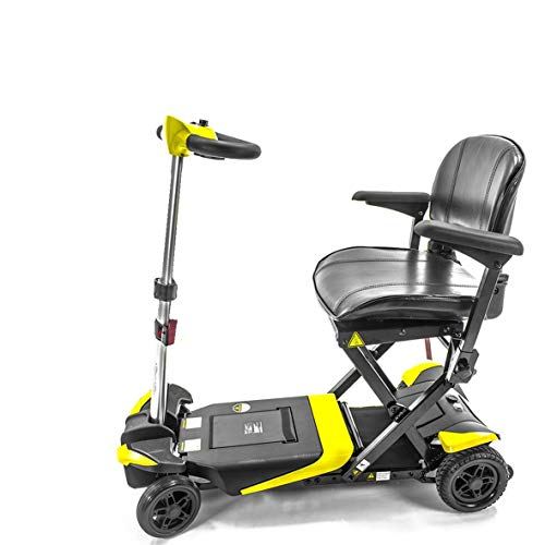Transformer Automatic Folding Travel Scooter for Adults and Seniors, Yellow, Lightweight Lithium Battery, Airline Approved Products