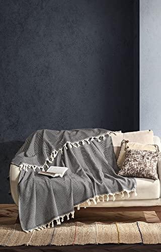 BOHORIA Premium Tagesdecke Tulum | 100% Baumwolle | Oeko-Tex | Bettüberwurf Wohndecke Wendedecke Sofadecke mit Muster | extra-groß 170 x 230 cm (Obsidian)
