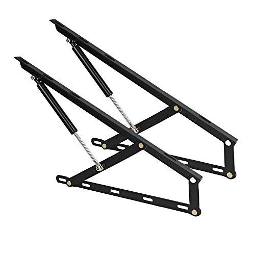 A Pair of 2FT Pneumatic Storage Bed Lift Mechanism Gas Spring Bed Storage Lift Kit Heavy Duty Bed Lift for for Box Bed Sofa Storage Space Saving DIY Project Lifter Lift Up Hardware, Black