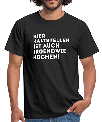 Bier Kaltstellen Ist Auch Kochen Witziger Spruch Männer T-Shirt, XXL, Schwarz