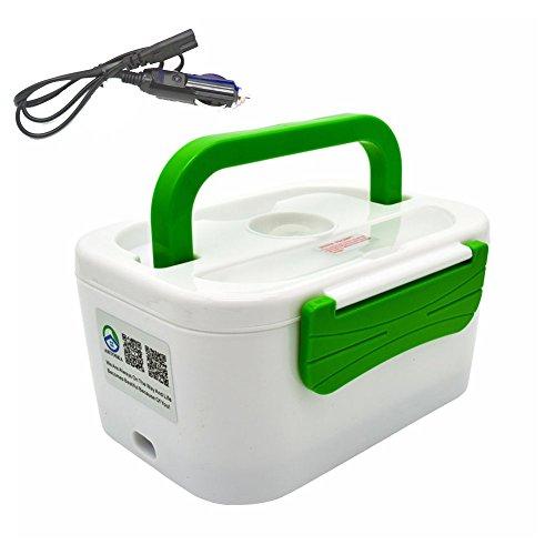 12 V universeel servies set met elektrische verwarming, geschikt voor auto, picknick, levensmiddelcontainer met schep, groen