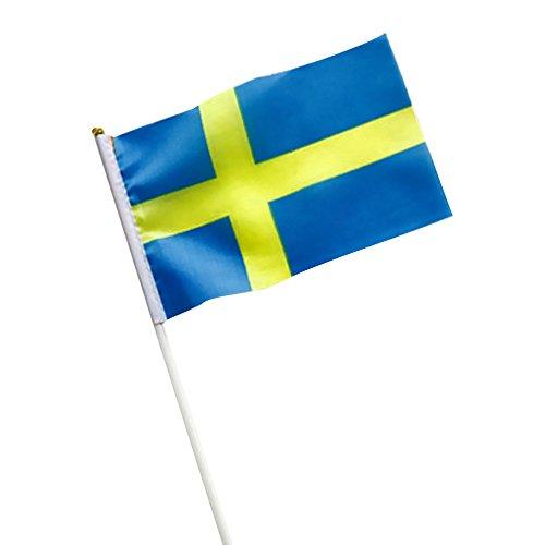 Naisicatar Suède Hand Held Bâton de Drapeau Drapeau 5,5 x 8.3 Suède Petite agitant Drapeau du 10 Pcs Mini Drapeau