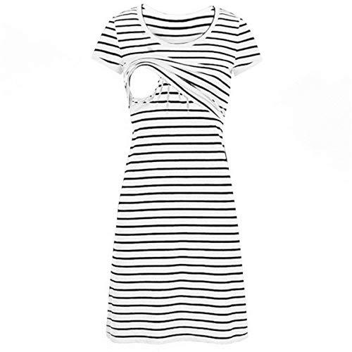 BRIEF Casual Maternity Dresses Women O-Neck Pregnant Nursing Maternity Short Sleeve Stripe Summer Dress Vêtement Grossesse Été@50,B,S