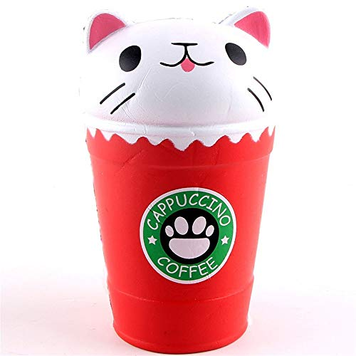 Squishies Jumbo 14cm Cut Cappuccino Coffee Cup Cat Scented Squishy Slow Rising Squeeze Toy Collection Cure Gift for Kids Adults Vent Tool Hand Wrist Exercise It Is The Best Gift For Children (Red)