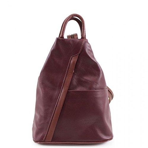 Vera Pelle Genuine Soft Italian Leather Backpack Rucksack/fashion Shoulder Bag (Burgundy with Brown)