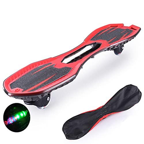 LHY Tablero de vitalidad Intermitente para Principiantes Patineta Youpin patineta de Dos Ruedas para niños Adultos Accesorios de Tabla Larga para Scooter de Swing Juvenil,Rojo