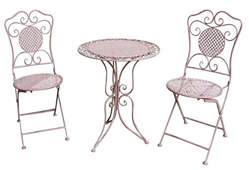 aubaho Gartenset Tisch und 2 Stühle Eisen Antik-Stil Gartengarnitur rosa Bistroset Metall