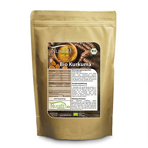 BIO Kurkuma-Pulver, 3,5% hochkonzentriertes Curcumin, Vegan Superfood ohne Zusätze, rein natürlich, Rohkostqualität aus Kurkuma-Wurzel für Smoothies, Bowls und Curcuma Latte, 500g / 0.5kg