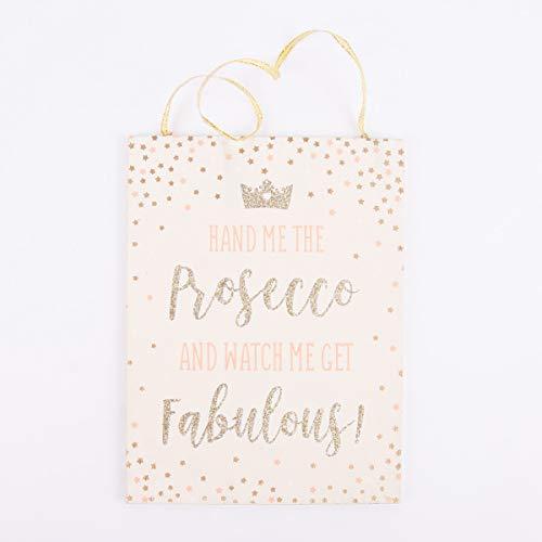 Mooi leven. Sass & Belle schild -Hand me The Prosecco - roze goudkleurig 13x17,5cm