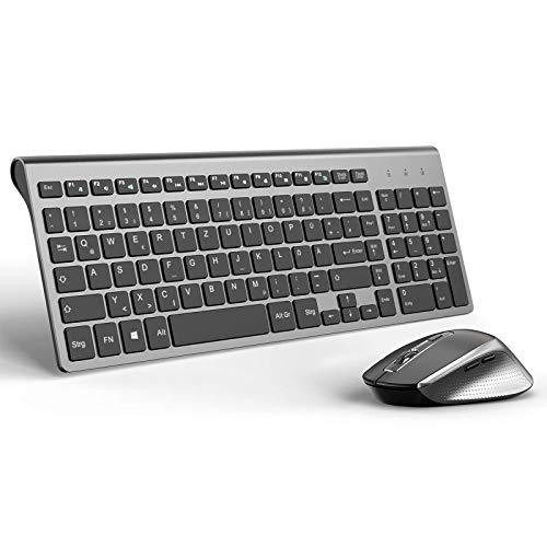 J JOYACCESS Tastatur Maus Set Kabellos, 2.4G Ultra Dünne Funktastatur mit Maus, Ergonomischer und Leise 2400DPI Optische Maus für PC/Laptop/Smart TV(QWERTZ, Deutsches Layout) - Schwarz und Grau