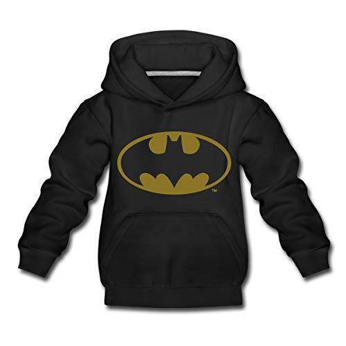 DC Comics Batman Logo Gold Kinder Premium Hoodie, 110-116, Schwarz
