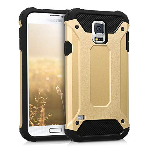 kwmobile Hülle kompatibel mit Samsung Galaxy S5 / S5 Neo - Hybrid Handy Cover Handyhülle Case Schutzhülle Transformer Gold Schwarz