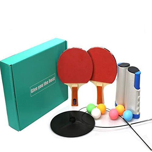 HNHT Tafeltennisset, Tafeltennisset Inclusief 6 Tafeltennisballen | 1 Tafeltennisnet | 2 Tafeltennisbatjes Rackets Met Peddel | 2 Tafeltennistrainer Voor Indoor Outdoor Ping Pong Game